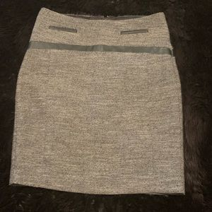 Express pencil skirt 00 like new leather trim grey